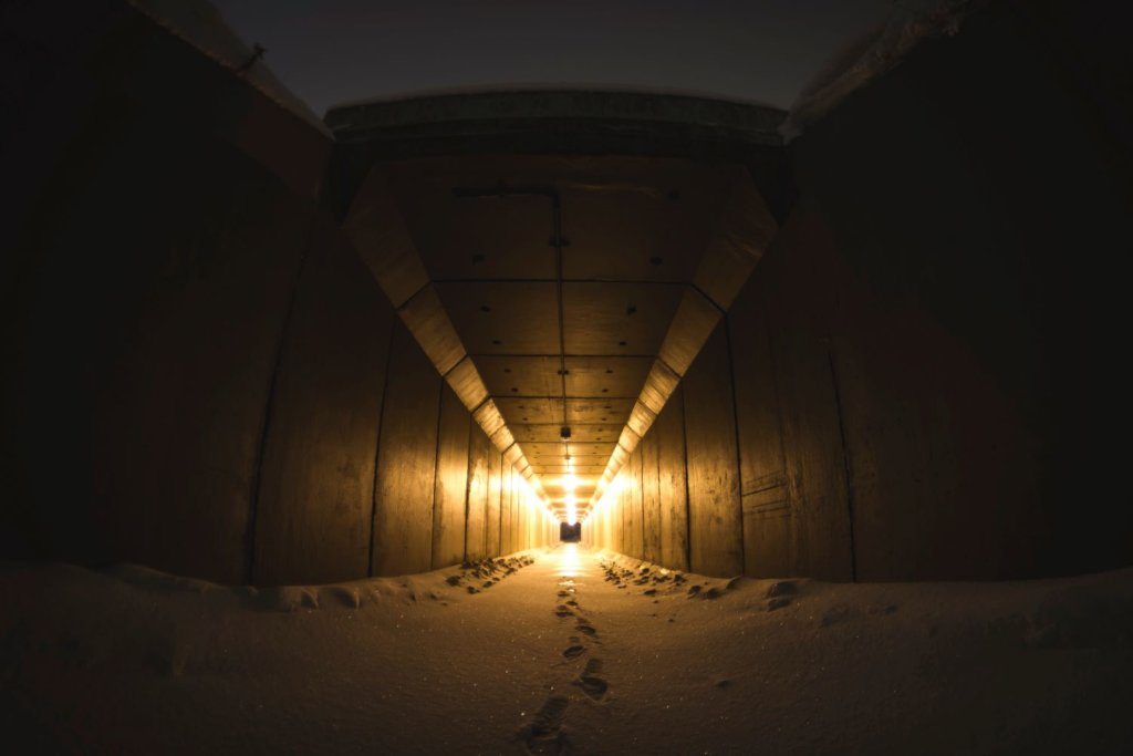 Entering a tunnel of light