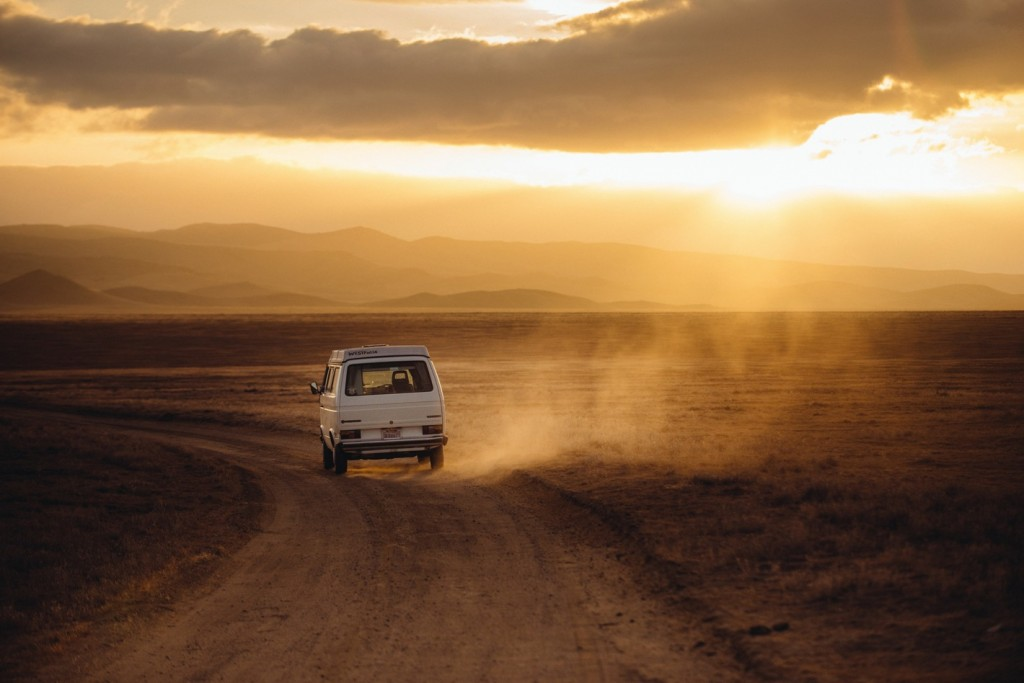 Van in the dust